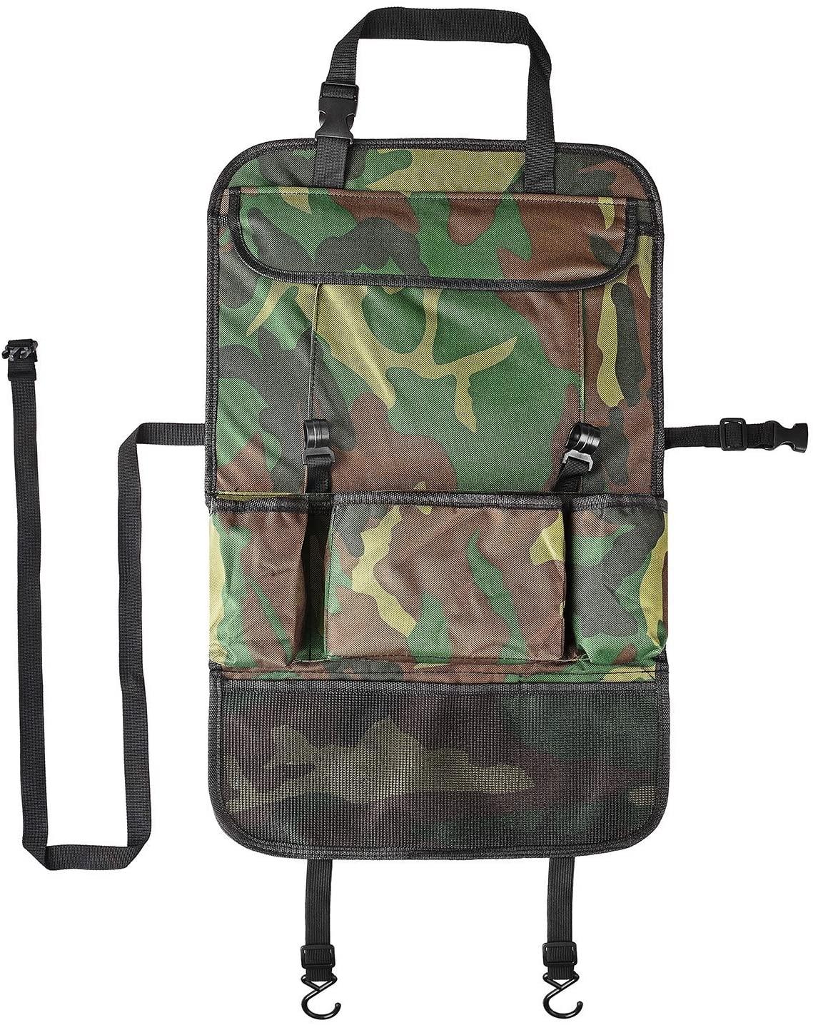 HCMAX 2 Pack Car Seat Back Organizer Pocket Backseat Protector Storage Bag Tablet Holder Kick Mat ipad Holder Multi-Pocket Great Travel Accessory Camouflage A