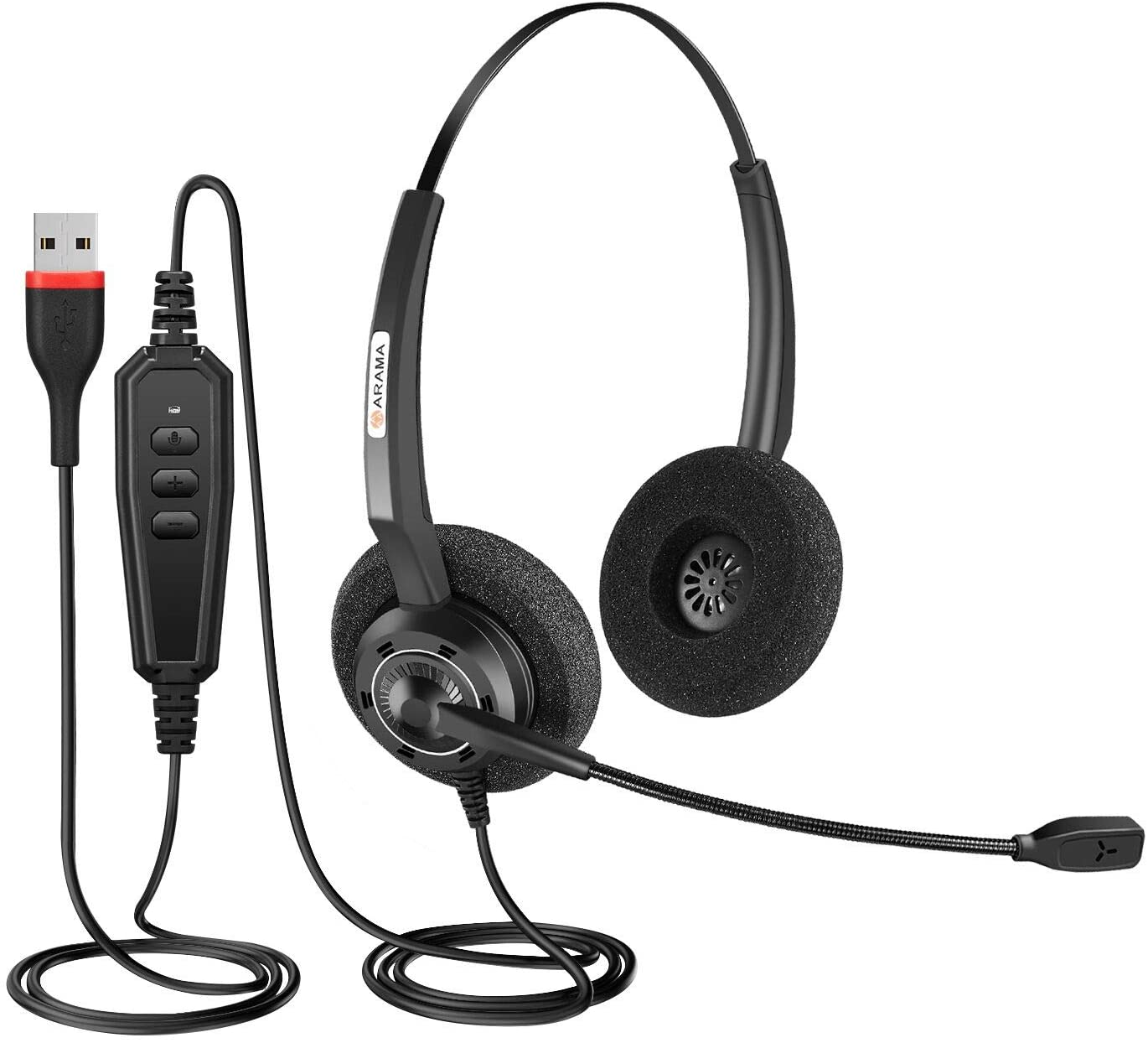 Arama USB Headset with Microphone Noise-Cancelling Wideband Computer Headset for Skype Business UC, Softphone,PC Webinar Call Center Office