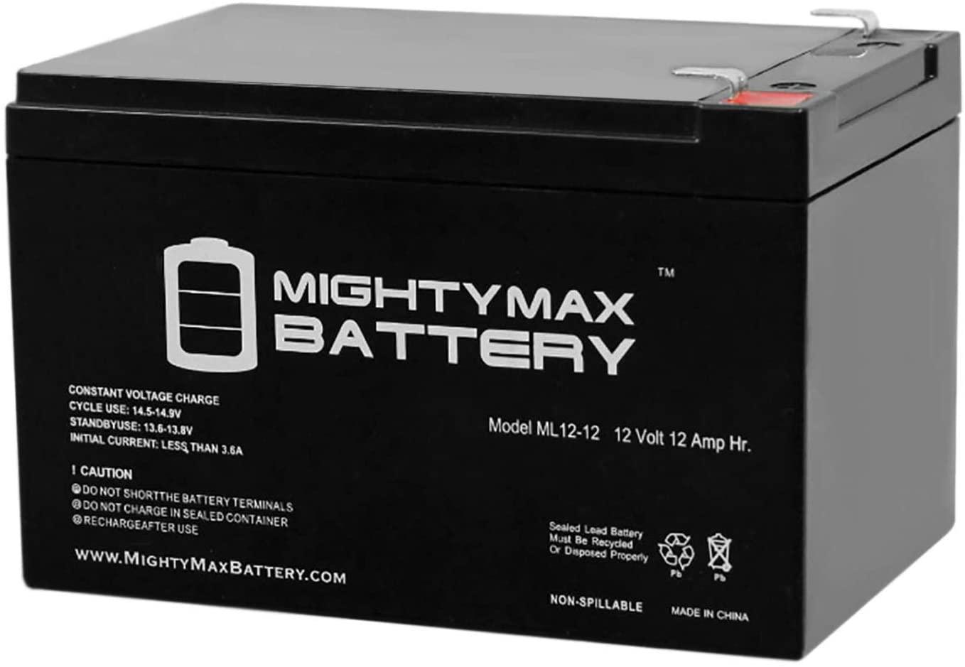 Mighty Max Battery ML12-12 - 12V 12AH F2 Battery Replaces Mity-Mite Jump Starter Charger XP750 Brand Product