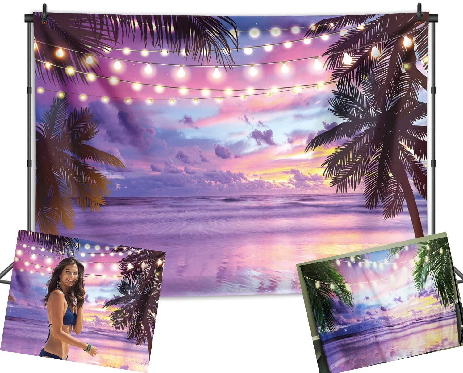 GYA 7x5ft Candy Sunrise Beach Backdrop Sunset Over Water Tropical Beach Background for Photography Summer Beach Decorations for Party