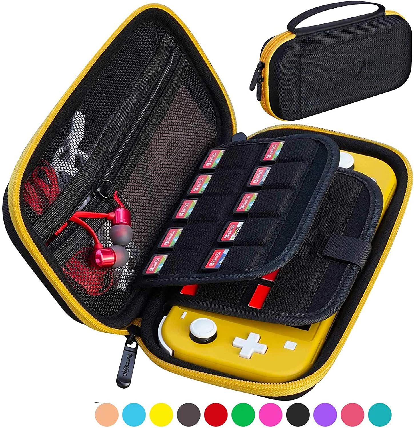 ButterFox Slim Compact Carrying Case for Nintendo Switch Lite with 19 Game and 2 Micro SD Card Holders, Storage for Switch Lite Accessories (Yellow/Black)