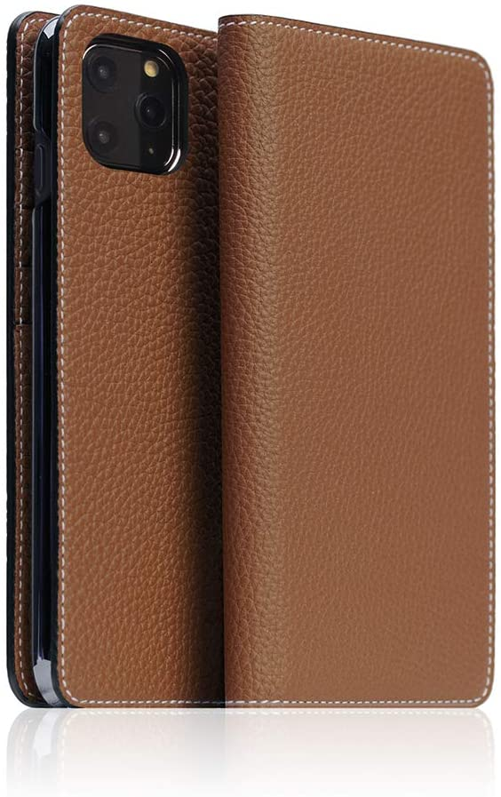 [BONAVENTURA] German Shrunken Calf Leather Diary Case for iPhone 11 Pro Max I Luxury Fashion Flip Book Cover Wallet case with Feature Card Slots Compatible with iPhone 11 Pro Max (Teak Brown)