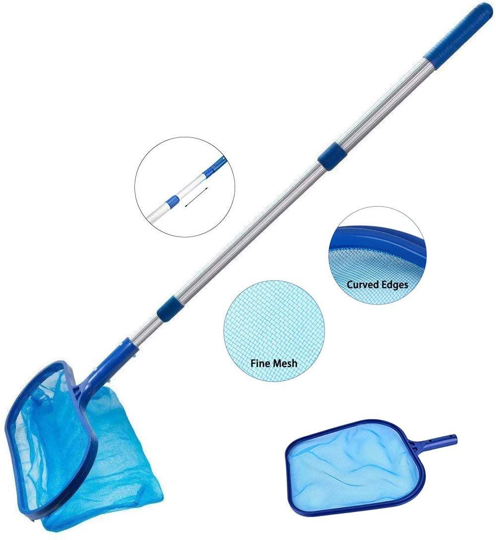 Hogwell Pool Skimmer Net, Swimming Pool Leaf Skimmer Net with Deep-Bag Pool Rake, Fine Mesh Pool Skimmer Net, Fine Mesh Net with Pole for Cleaning Swimming Pools, Spas (1Pole+2Nets)