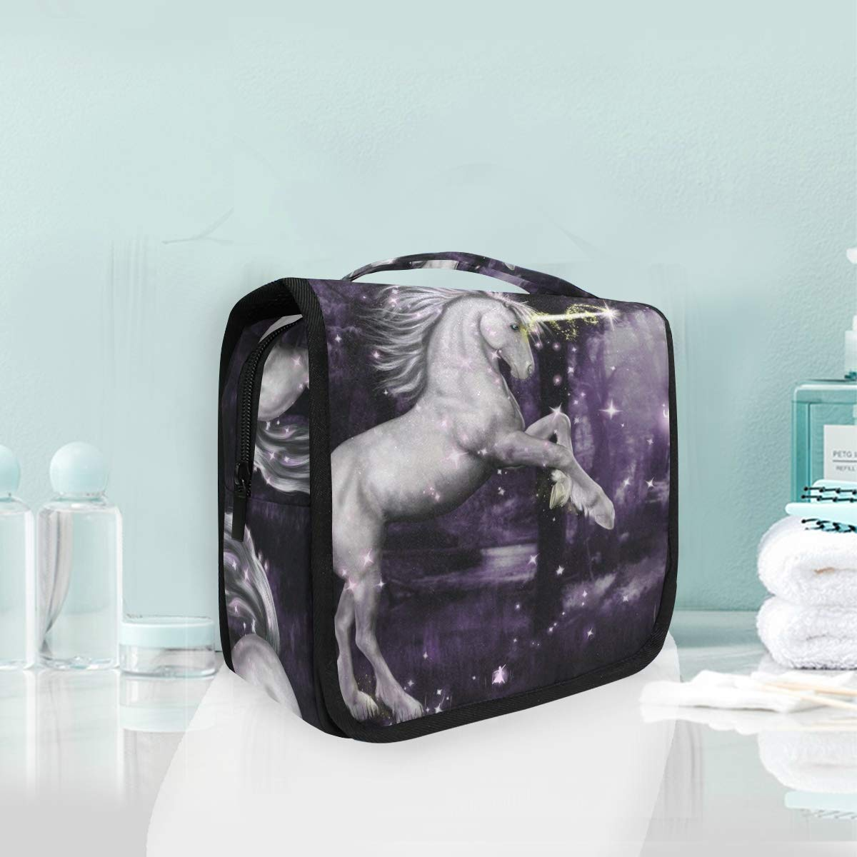 Hanging Toiletry Bag Unicorn Surrounded By Magic Portable Cosmetic Makeup Travel Organizer for Men & Women with Sturdy Hook