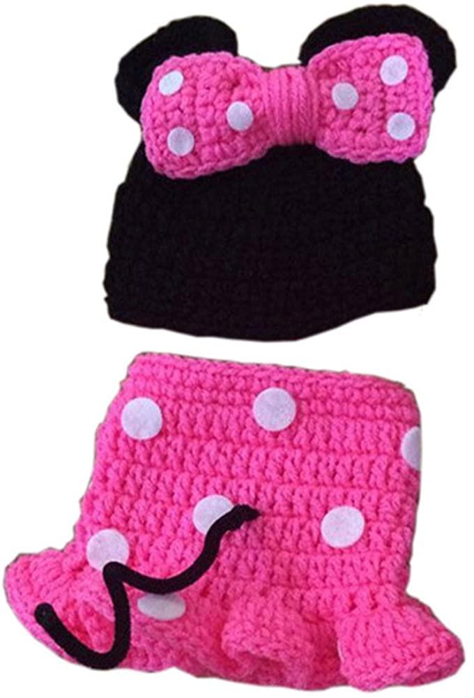 Pinbo Nebworn Baby Girls Photo Prop Crochet Hat Dress Shoes Rose Red