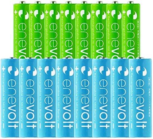 enevolt AA 2100mAh and AAA 900mAh NiMH Rechargeable Batteries and Battery Case Combo Pack 1.2V High-Capacity Low Self-Discharge -(8PCS) AA 2100mAh + (8PCS) AAA 900mAh Set