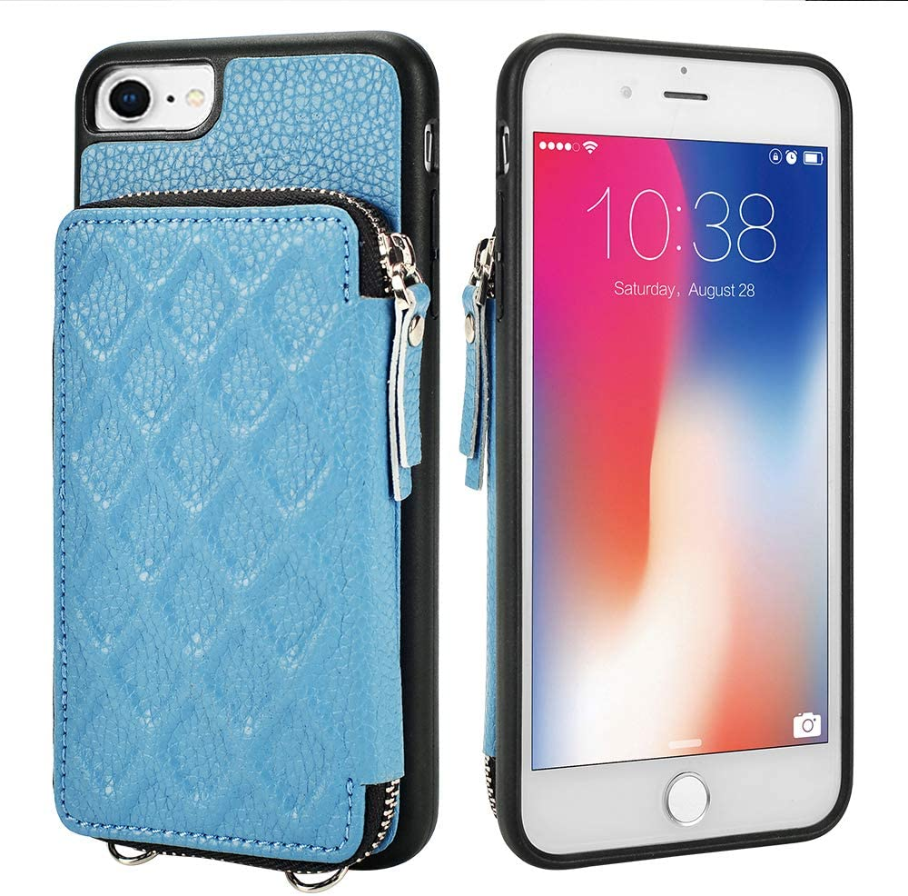 LAMEEKU Zipper Wallet Case Compatible with iPhone SE 2020, iPhone 8 Card Holder Case with Leather Card Slot Handstrap Crossbody Chain, Protective iPhone Cover for iPhone SE(2nd)/8/7 4.7'' - Haze Blue