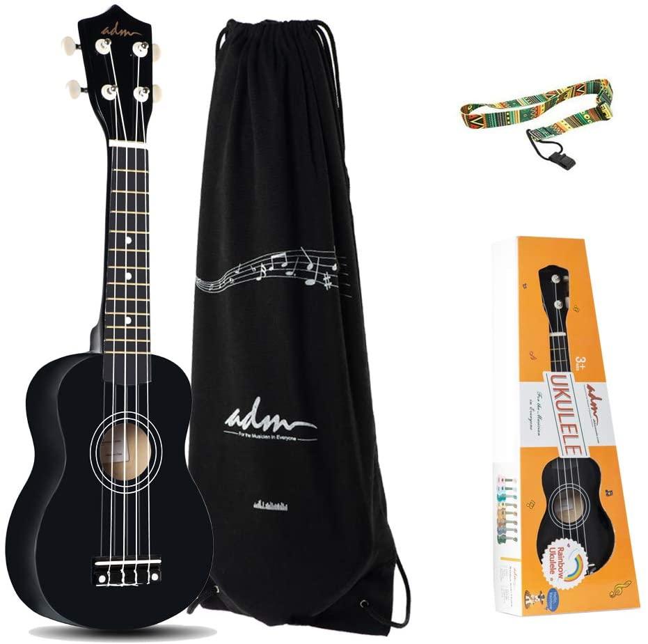 ADM Beginner Ukulele 21 Inch Soprano Kids Starter Pack Bundle with Gig Bagand Strap, Black