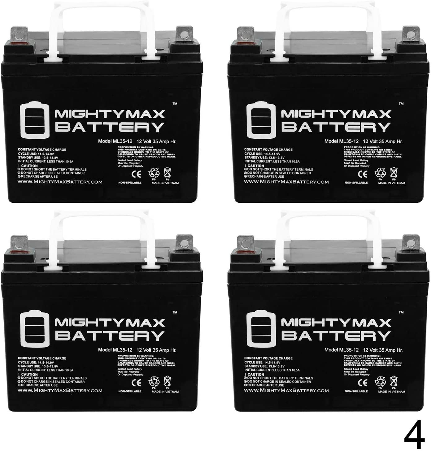 Mighty Max Battery 12V 35Ah Replaces Pride Mobility Jazzy Select 6 Ultra - 4 Pack Brand Product