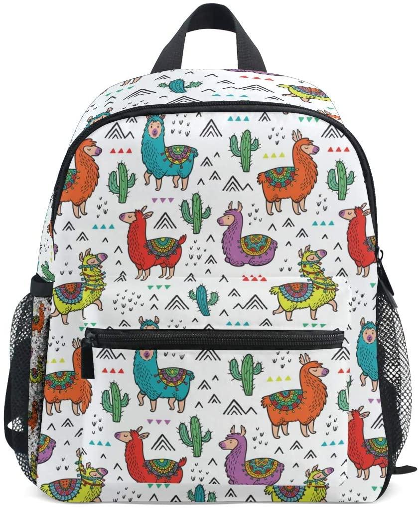 Cartoon Llama Cactus Toddler Backpack Kindergarten Preschool Kids Bag