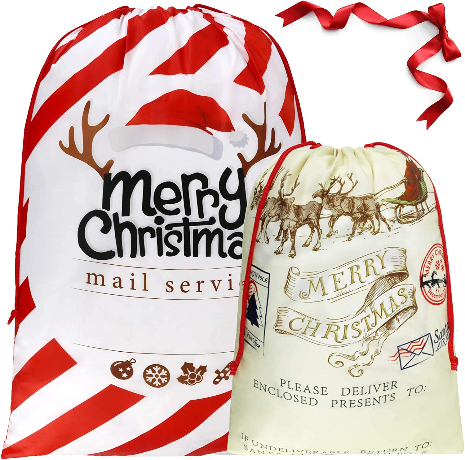 BeeGreen 2 PCS Christmas Bags with Drawstrings Large Santa Claus Gift Bags for Christmas Decoration Gift Wrapping Christmas Goodie Bags