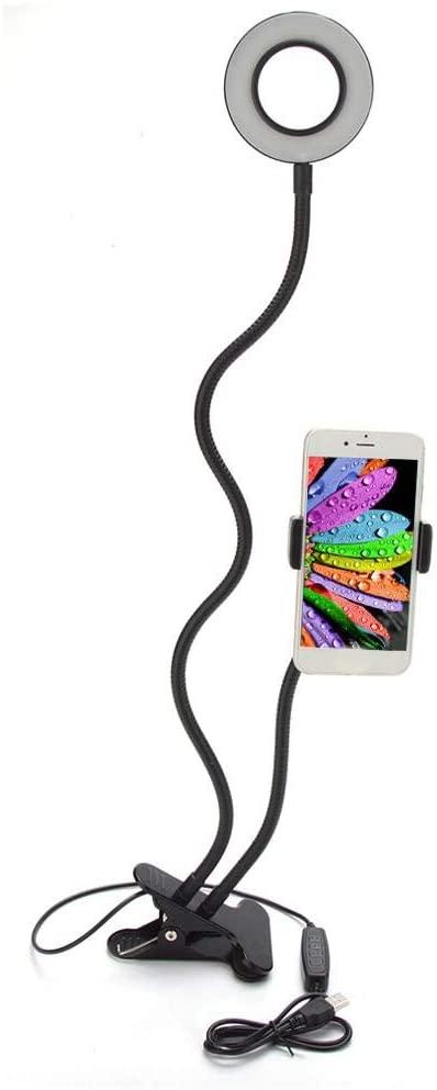 Selfie Ring Light with Cell Phone Holder, 360° Rotation Adjustment Holder Fill-in LED Light for Live Broadcast, Makeup, Selfie and Video(Black)