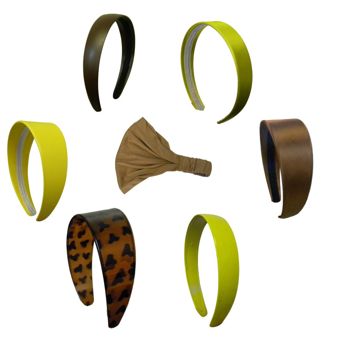 Tons Of Headbands! Plastic, Satin, Leather-Look Variety Set - Brown