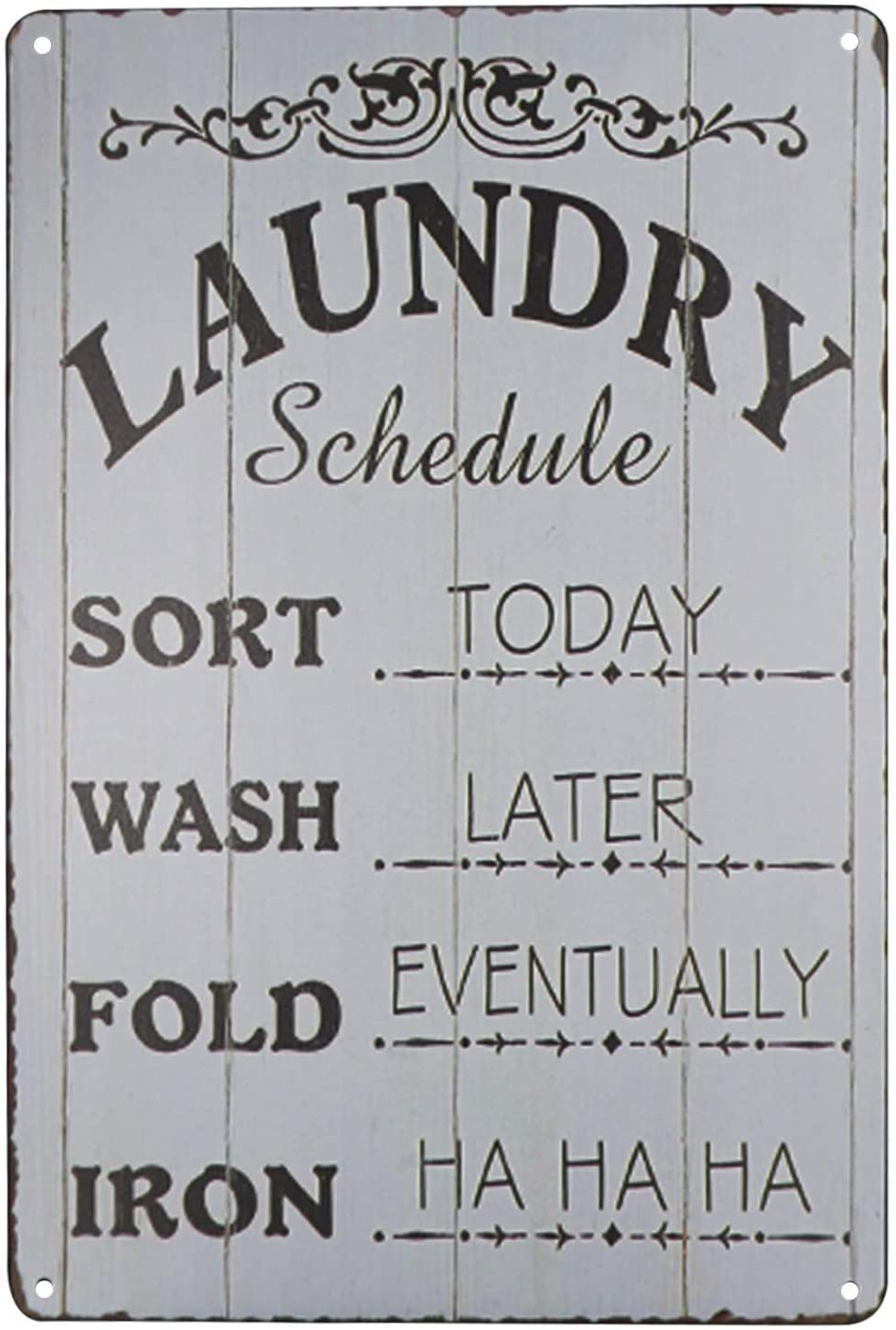 PXIYOU Laundry Schedule Vintage Distressed Look Farmhouse Metal Sign Wash Laundry Room Decor 8X12Inch