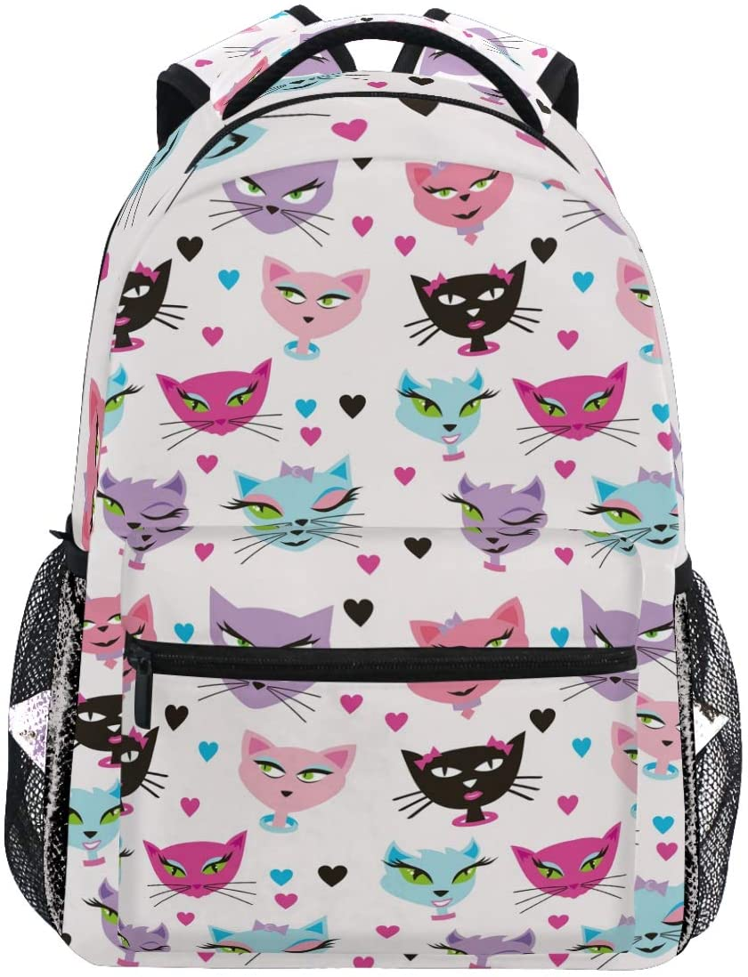 Kaariok Cartoon Colorful Cat Magic Kitty Heart Animal Backpack Bookbags Daypack Travel School College Bag for Womens Mens Teens