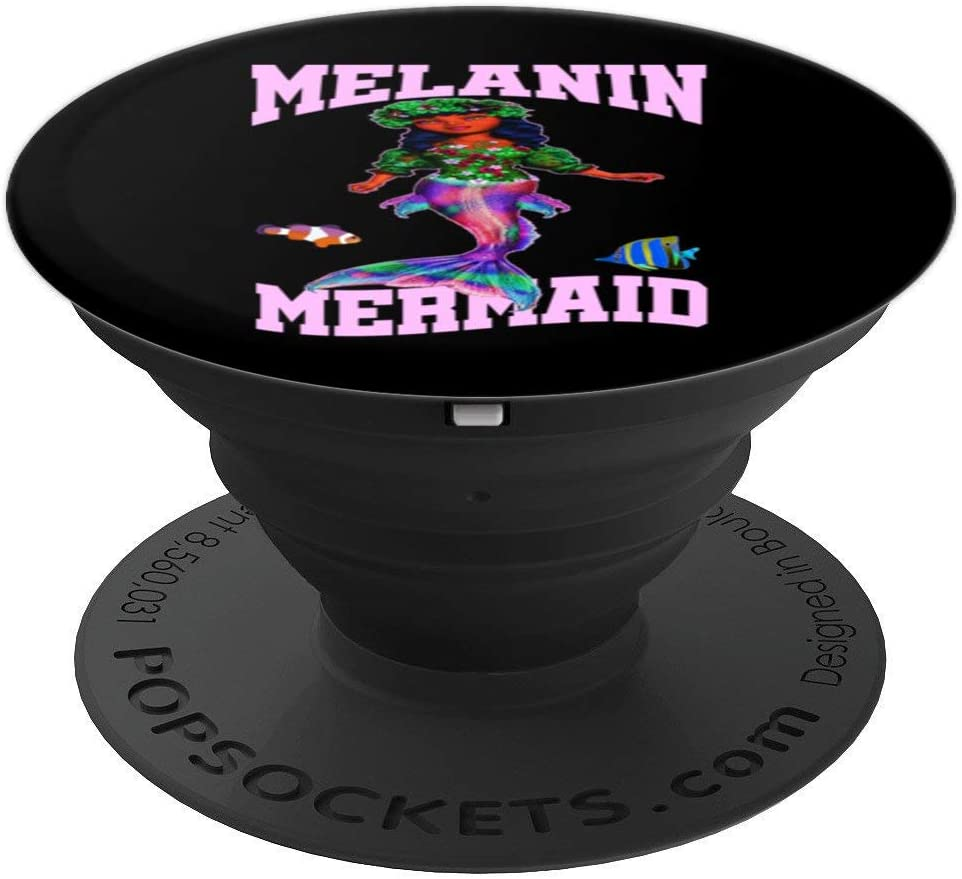Cute Melanin Mermaid For African American Girl Birthday Gift PopSockets Grip and Stand for Phones and Tablets
