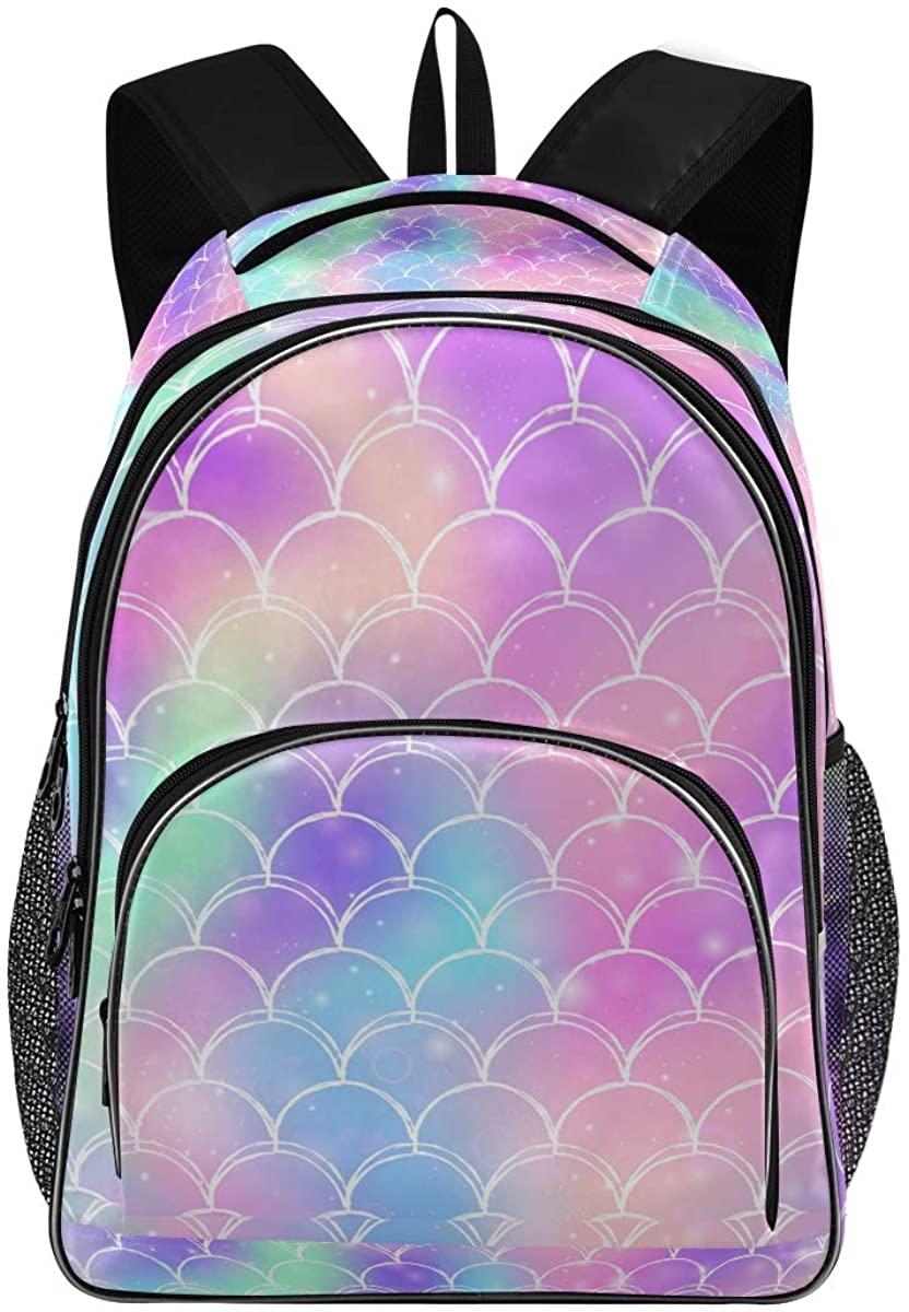 Rainbow Galaxy Mermaid Scales New Backpack for School Teenagers Girls Boys Travel Bag(628n)