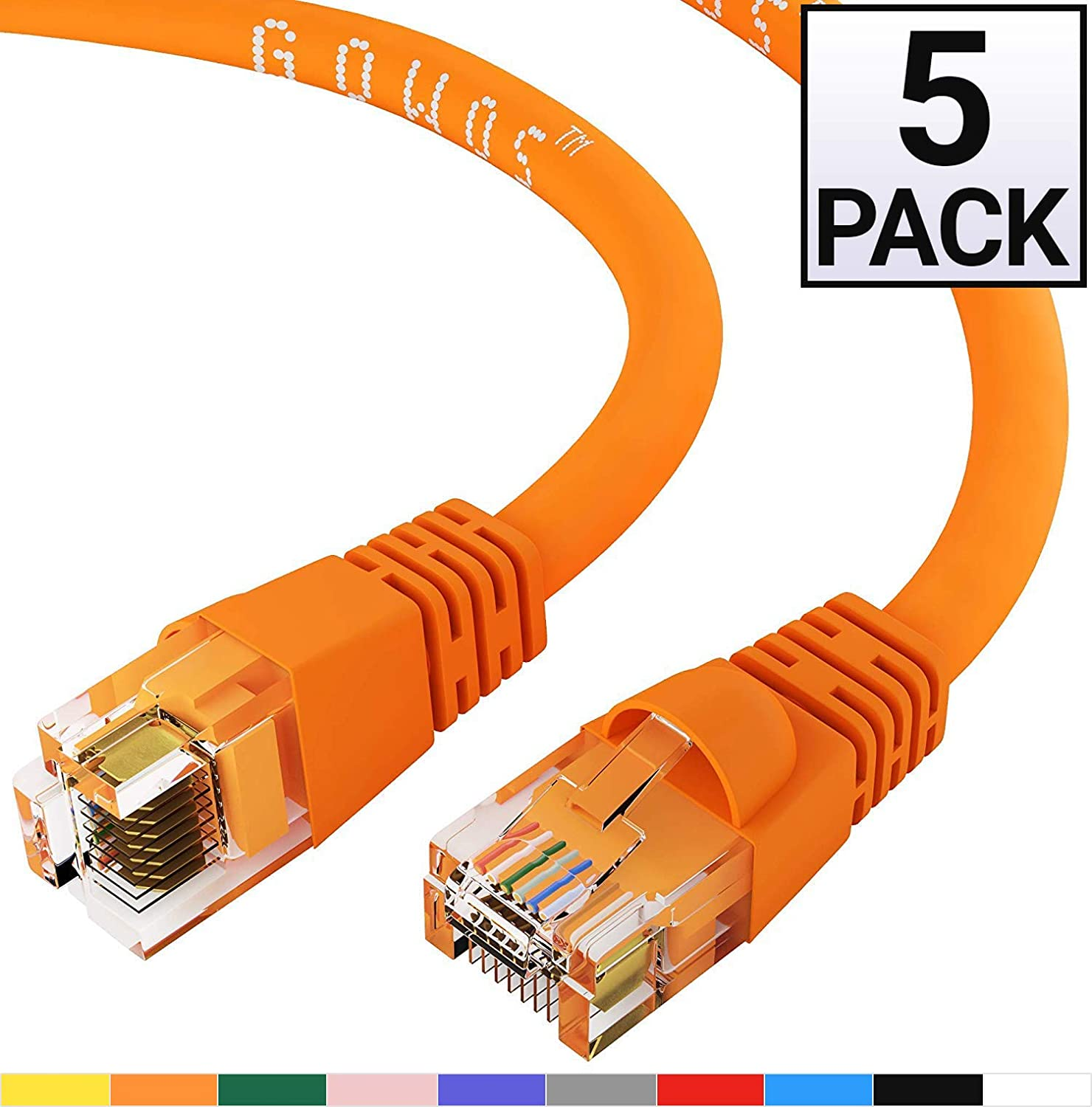GOWOS 5-Pack, Cat6 Ethernet Cable (2 Feet - Orange) UTP - Computer Network Cable with Snagless Connector - RJ45 10Gbps High Speed LAN Internet Patch Cord - Available in 28 Lengths and 10 Colors
