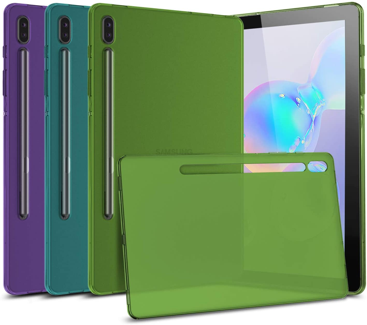 [3-Pack] Cbus Wireless Flex-Gel Silicone TPU Case Compatible with Samsung Galaxy Tab S6 (Purple, Turquoise, Green)