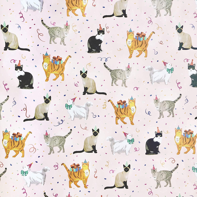 Jillson Roberts 6 Roll-Count Recycled Birthday Gift Wrap, Festive Felines