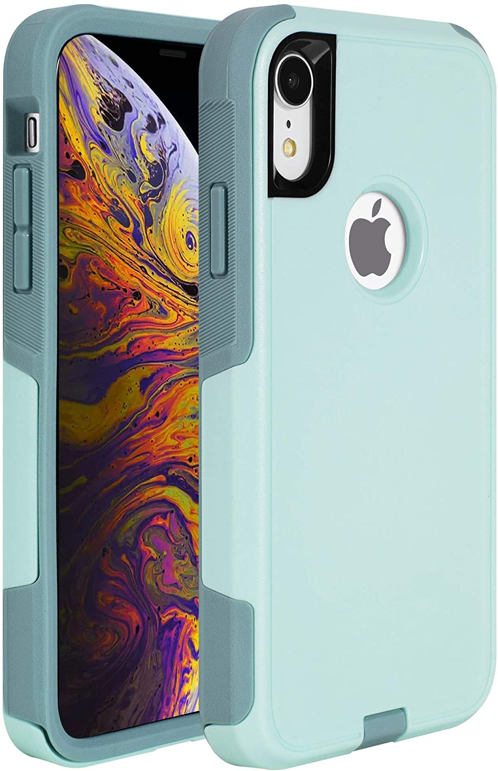 Legfes Commuter Phone Protective Case, Commuter iPhone XR Case, Anti-Drop Shock Absorption iPhone XR Case, Heavy Duty Dual Layer Protection Cover Case for iPhone XR (Aqua SAIL/Aquifer)