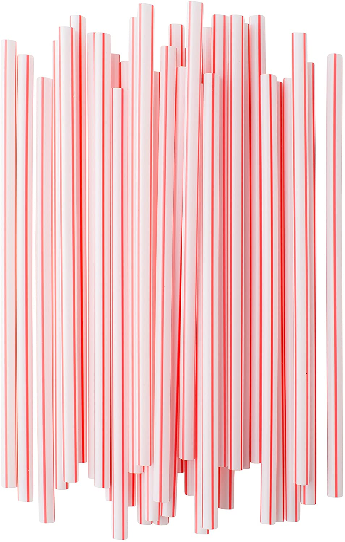 [300] Box of Individually Paper Wrapped Milkshake Straws, Straight 8.25