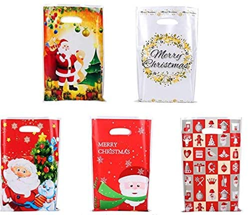 GWHOLE 60 Pcs Plastic Party Treat Bags Gift Bags in 5 Styles for Christmas Holiday Parties