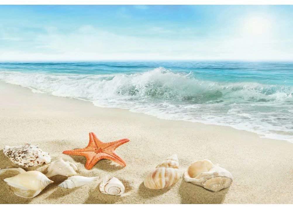 DaShan 5x3ft Polyester Tropical Beach Sea Backdrop Nautical Baby Shower Seaside Birthday Sandbeach Summer Ocean Hawaiian Luau Party Bridal Shower Photography Background Starfish Wedding Photo Props