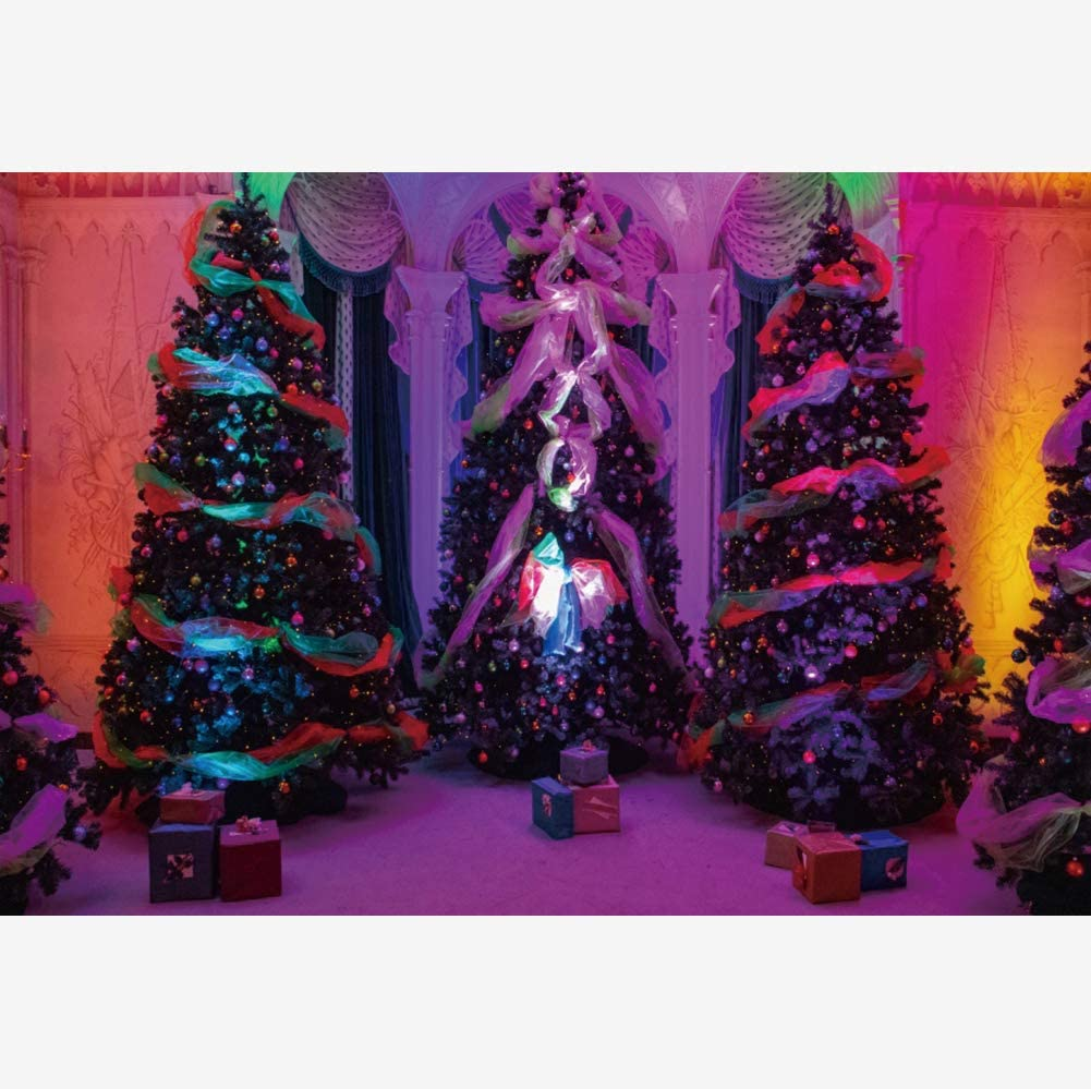 OERJU 15x10ft Merry Christmas Photography Backdrop Christmas Trees with Ornaments Gift Boxes in Luxury Palace Cozy Ligt Christmas New Year Background Family Events Party Decoration Banner Photo Booth