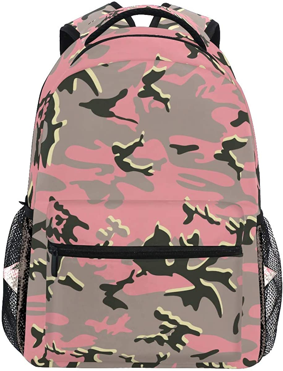 ATONO Seamless Colorful Camouflage Pink Backpacks for Women Man Kids Boys Girls Student Backpack Use for School Shopping Computer Bag Travel Hiking Camping Daypack Fits 11.5 x 8 x 16 Inch Book Bag
