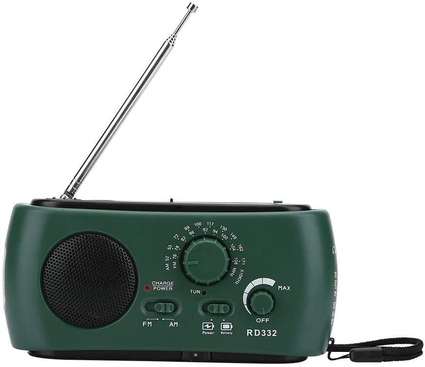 Solar Hand Crank AM/FM Radio with LED Flashlight Emergency Phone Charger(Dark Green)