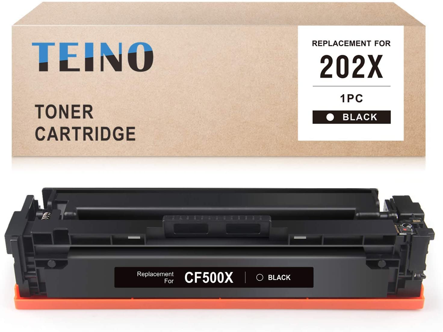 TEINO Compatible Toner Cartridge Replacement for HP 202X CF500X 202A CF500A for Color Laserjet Pro MFP M281fdw M281cdw M280nw Color Laserjet Pro M254dw (Black, 1 Pack)