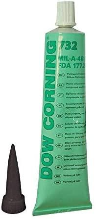 732 BLACK 90ML - Sealant, Silicone RTV, General Industrial Bonding, Sealing, Tube, Black, 90ml (Pack of 2) (732 BLACK 90ML)