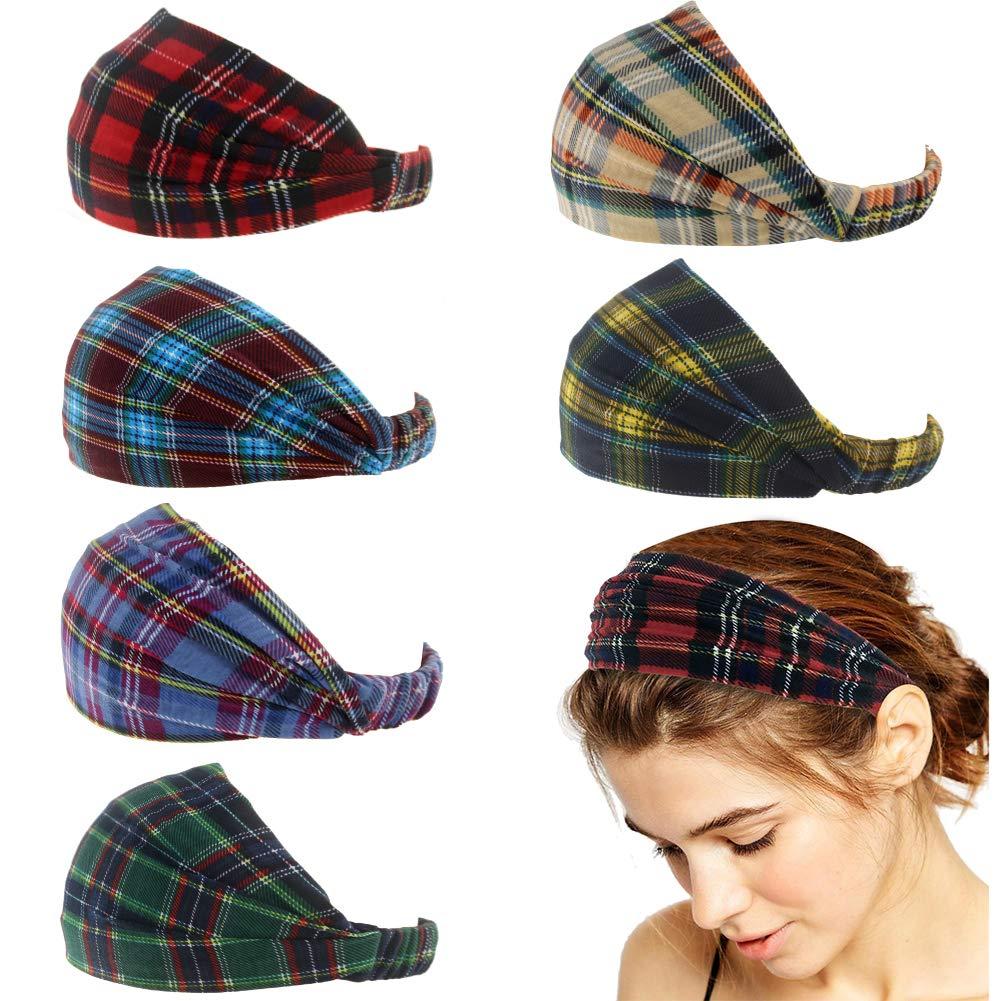 Carede Wide Bandana Headband for Women with Stretchy Mask Headbands Elastic Yoga Hairband Bohemia Turban Head Wrap Headband,Pack of 6