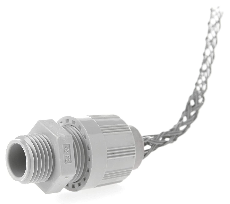 Woodhead 5540NM Cable Strain Relief Grip, Locknut, Straight Male, Max-Loc Cord Seal, Non-Metallic Mesh, 3/4