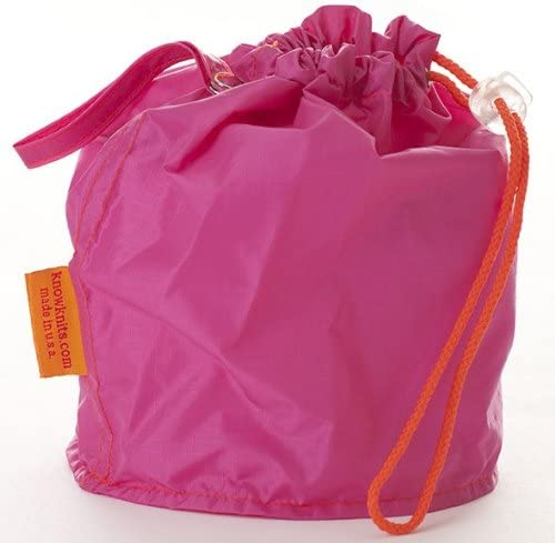 Pink Large GoKnit Pouch Project Bag w/ Loop & Drawstrings