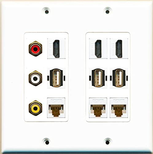 RiteAV RCA Composite and 3 Hdmi 3 Cat6 Ethernet 3 USB A-A Wall Plate White