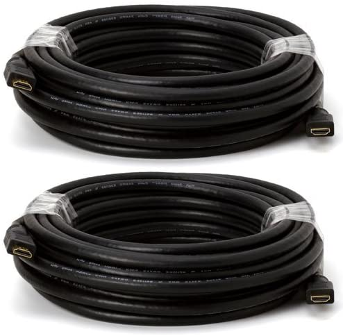 Cmple - 45 Ft HDMI 1.3 Cable 24awg CL-2 Rated for in-Wall, 1080p, Black (Pack of 2)