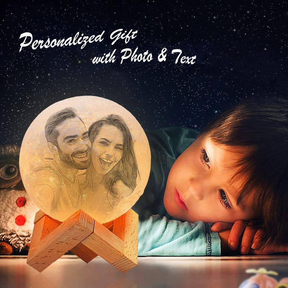LOSARON Custom Photo & Text Moon Lamp with Picture Engraved, Personalized Moon Light(4 Inch) with Touch Control Brightness
