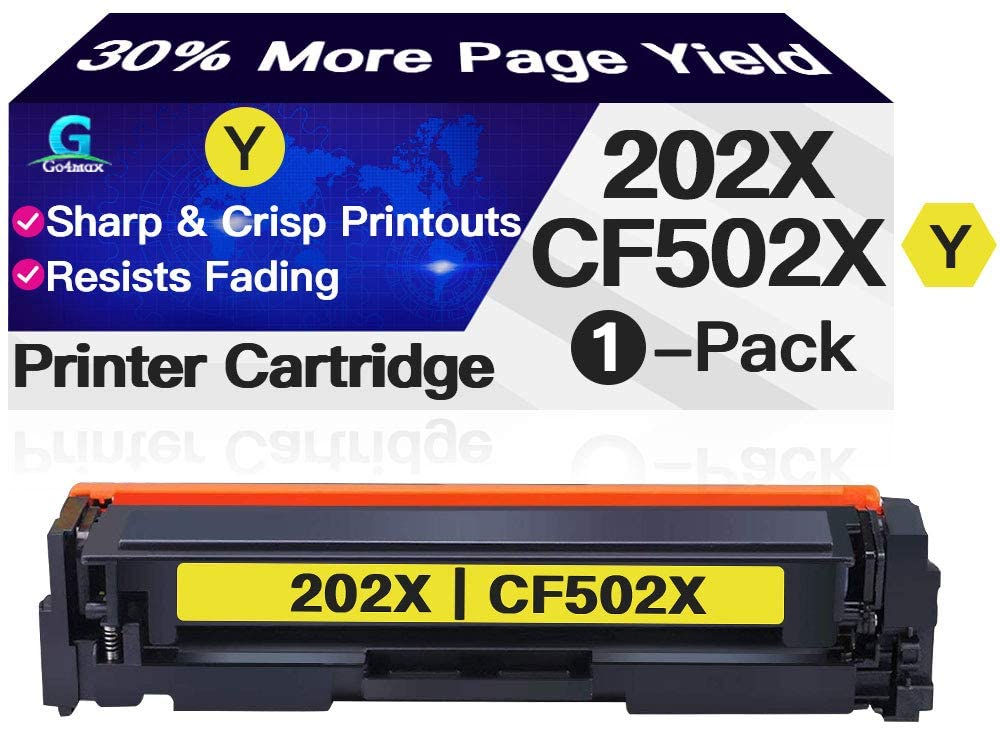 Compatible Yellow High Yield CF502X 202X Toner Cartridge 202A CF502A Used for HP Laserjet Pro M254dw MFP M280nw M281fdw M281cdw (1-Pack), Sold by Go4max