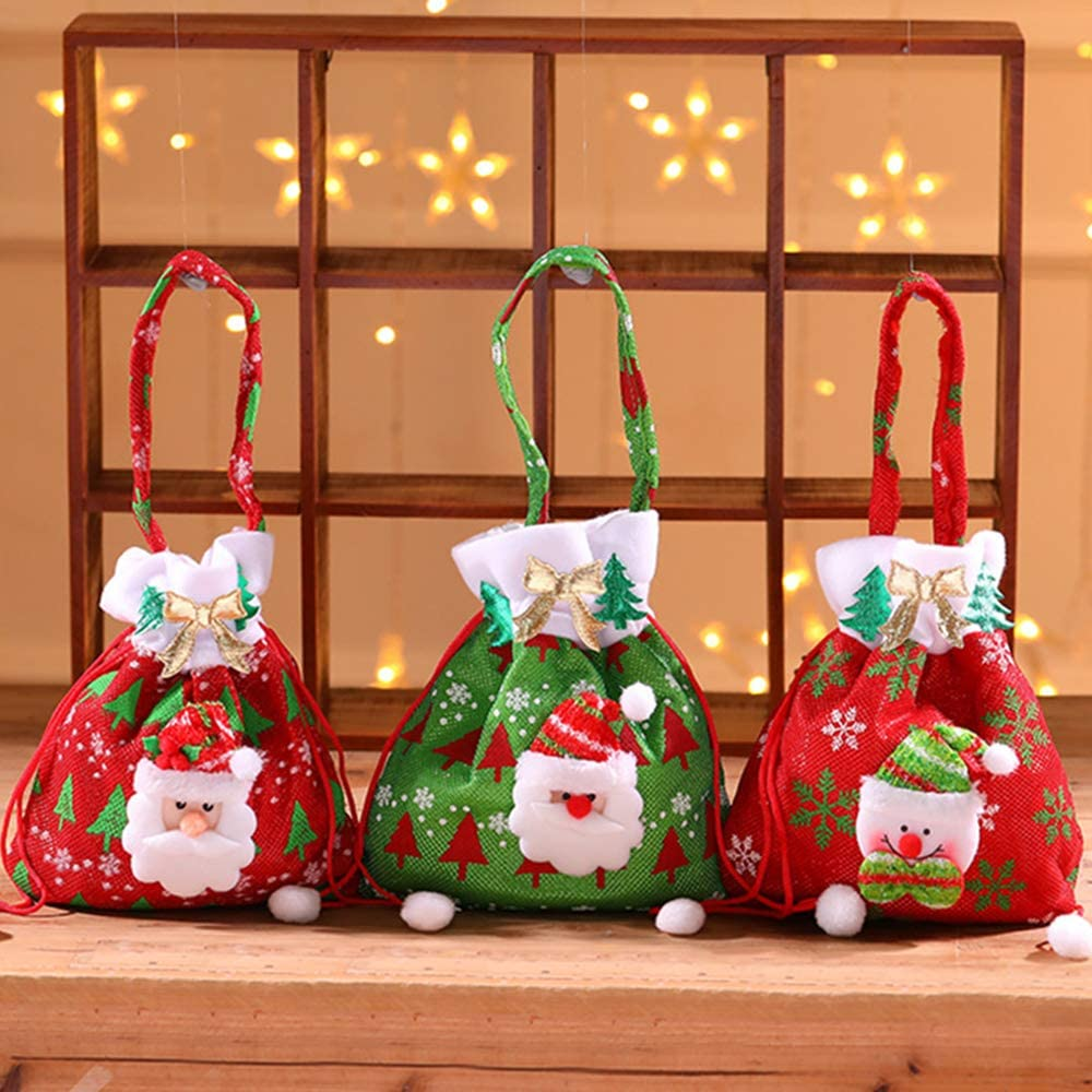 Christmas Bags for Gifts with Drawstrings, 3PCS Candy Bag Treat Bag for Xmas Holiday Party