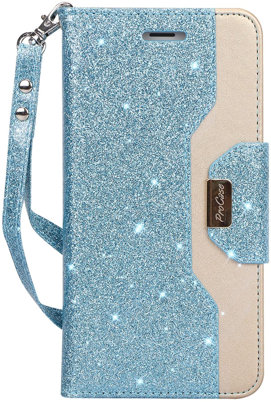 ProCase iPhone 8 Plus/7 Plus Wallet Case, Flip Fold Card Case Stylish Slim Stand Cover with Wallet Case for Apple iPhone 8 Plus/iPhone 7 Plus -Glitterblue