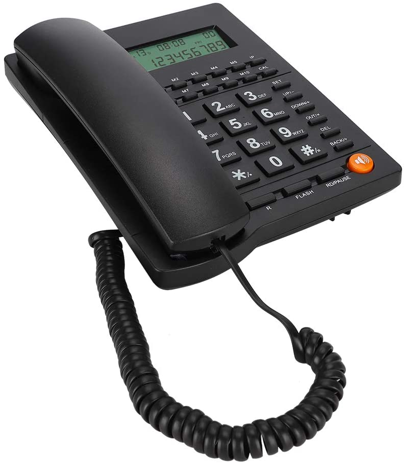 Queen.Y Corded Phone Desk Landline Telephone with Backlit Display Caller ID & Call Waiting Function for Home Office Hotel Restaurant Black