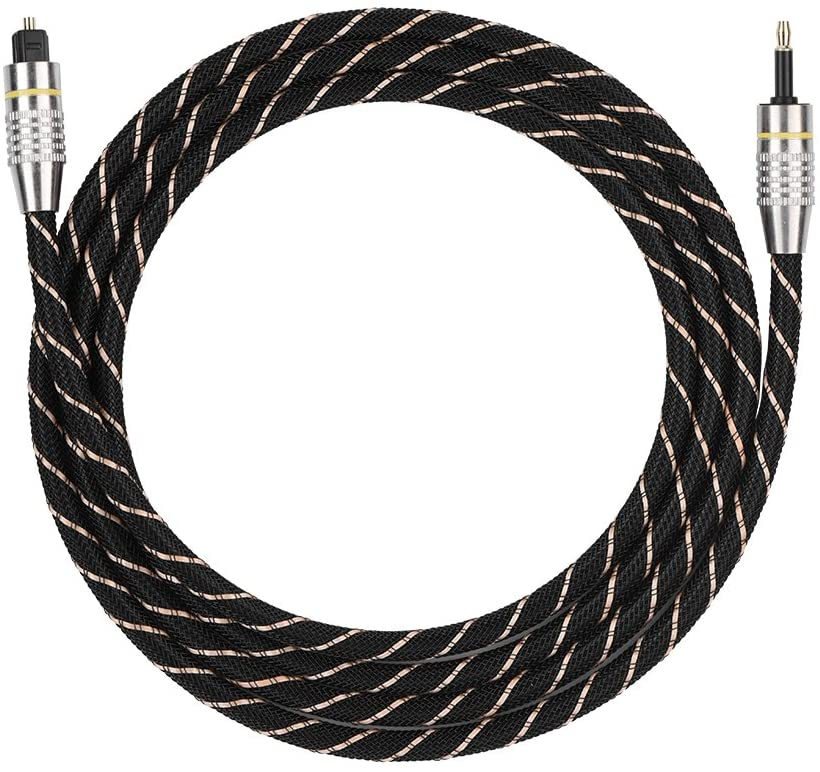 Liukouu Toslink to Mini Plug 3.5mm Optical Fiber Digital Audio Cable SPDIF Gold Plated Connector Round(1.5m)
