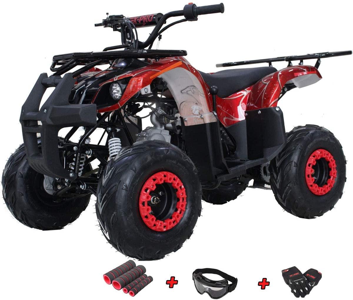 X-PRO Eagle 125 ATV Quad Youth 4 Wheeler ATVs Kid Size ATV 4 Wheelers 125cc Big Boys ATVs Quads with Gloves, Goggle and Handgrip (Spider Red)