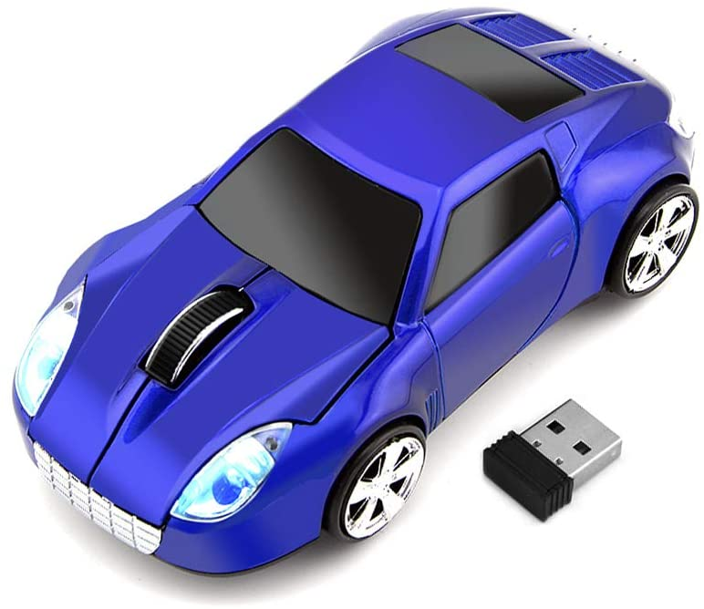 ECOiNVA for Tesla Roadster Wireless Sports Car Shape Mouse Mice Computer Laptop PC Optical Mouse 2.4GHz USB Receiver AA Battery Powered Glossy Surface LED Light (Blue)