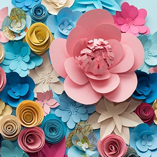 Laeacco Vinyl Photography Background 7x7ft Colorful Flowers Paper Background Pattern Lovely Style Champagne Blue Pink Blossoming Flower Backdrops Portraits Shooting Video Studio Props