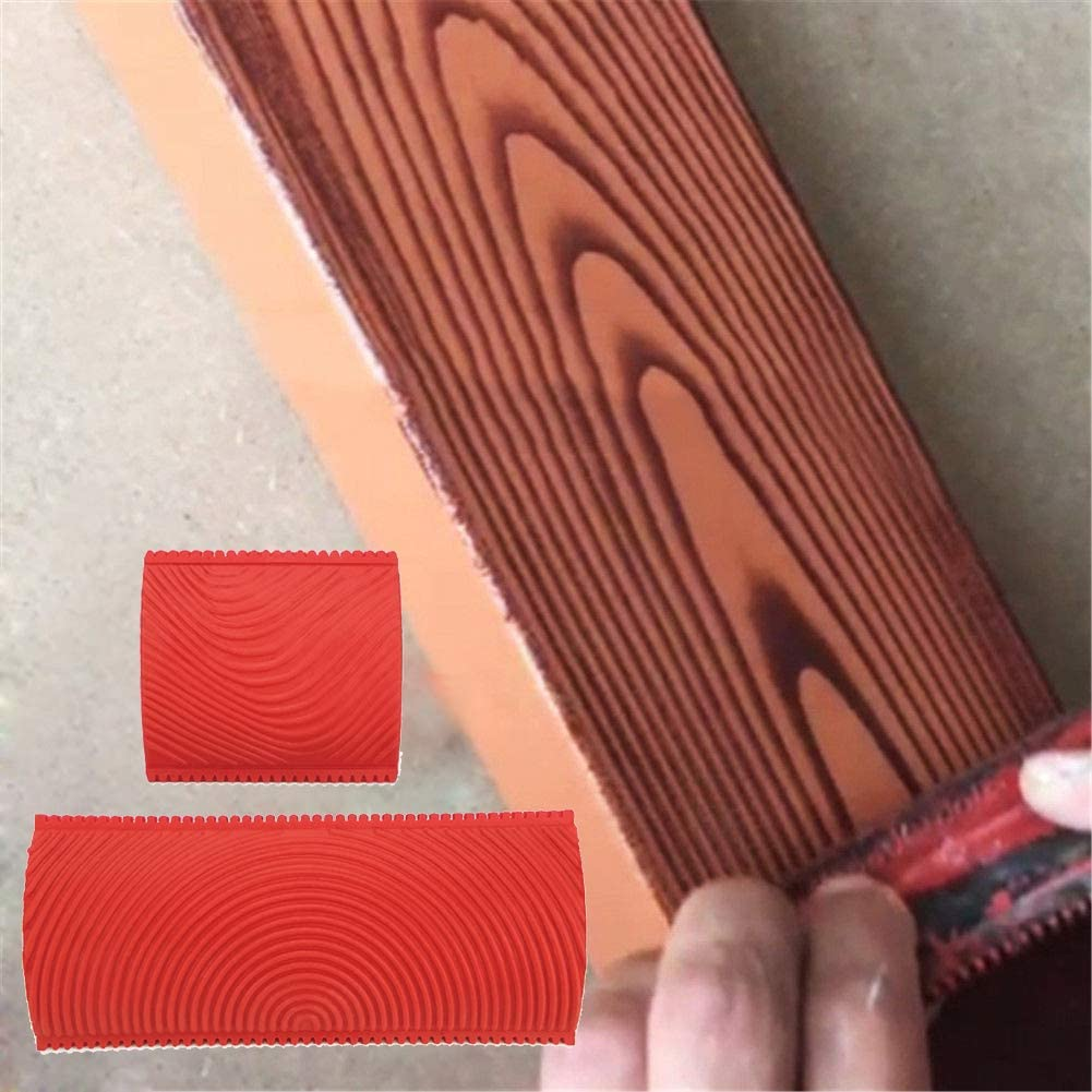 Zqasales 2pcs DIY Wood Graining Rubber Graining Painting Tool for Wall, Desktops, Cabinets, Doors Decoration - Wall Texture Art Painting Tool Set