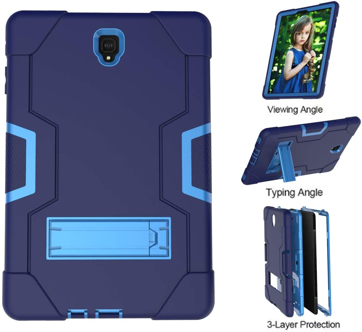 TianTa Galaxy Tab A 8.0 2019 (SM-P200/P205) Case, Hybrid Heavy Duty Defender Shockproof Protective with Built-in Kickstand for Galaxy Tab A 8.0 Inch with S Pen 2019 SM-P200/P205 - NavyBlue/Blue