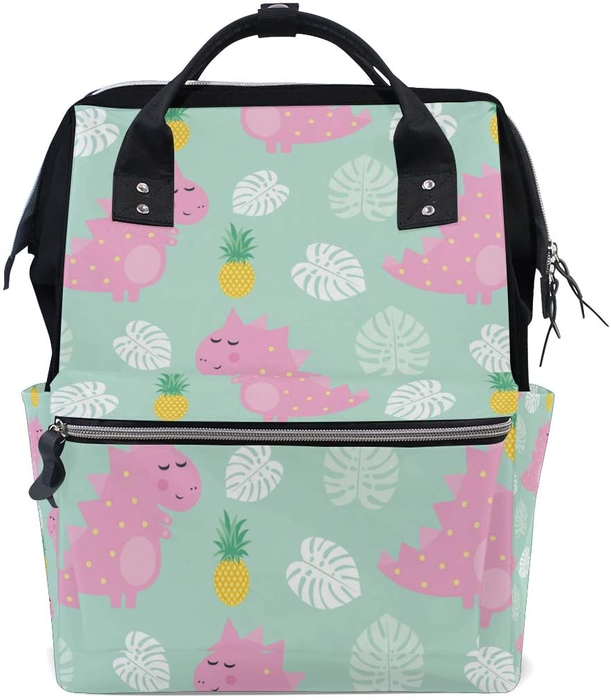 ALAZA Lightweight School Backpack Travel Handbag,Pink Dinosaur with Pineapple Laptop Backpack Large Casual Backpack for Students Teens Girls